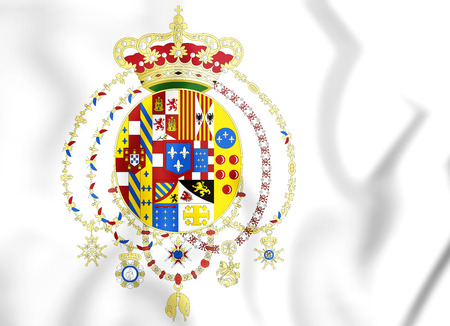 3D Flag of Kingdom of the Two Sicilies (1816). 3D Illustration. Stock Photo
