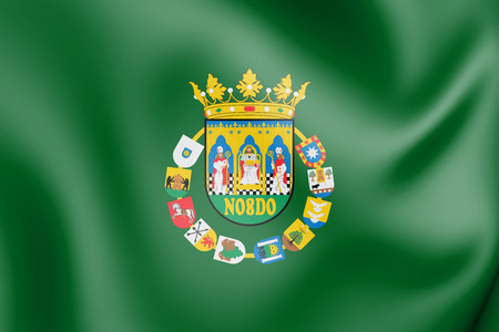 3D Flag of Seville Province, Spain. 3D Illustration.