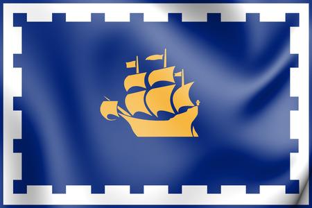 3D Flag of Quebec City, Canada. 3D Illustration.