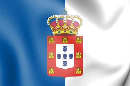 3D Flag of Portugal (1830-1910). 3D Illustration.    Standard-Bild