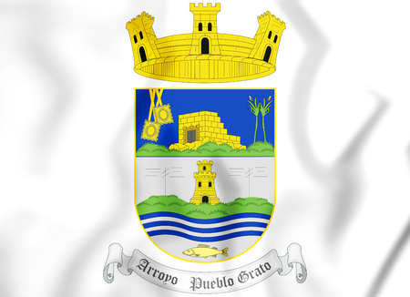 3D Arroyo coat of arms, Puerto Rico. 3D Illustration. Stock Photo