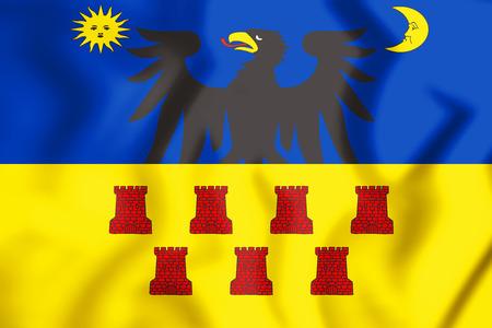 3D Flag of Transylvania. 3D Illustration.