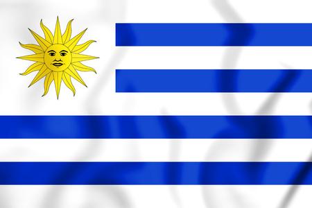 3D Flag of Uruguay. 3D Illustration. Stock Photo