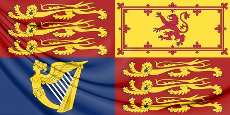 3D Royal Standard of United Kingdom. 3D Illustration.