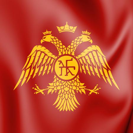 Byzantine Eagle, Flag of Palaiologos Dynasty. 3D Illustration.      Фото со стока