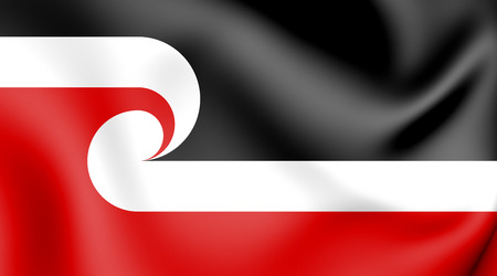 Tino Rangatiratanga Flag of Maori sovereignty movement. 3D Illustration.