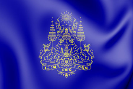 3D Royal Standard of the King of Cambodia. 3D Illustration.