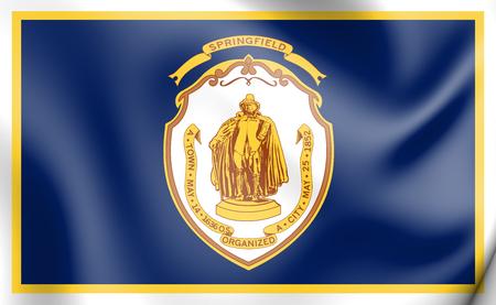 3D Flag of Springfield (Massachusetts), USA. 3D Illustration.