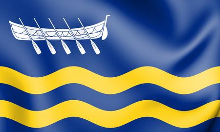 3D Flag of Lytham St Annes (Lancashire), England. 3D Illustration.