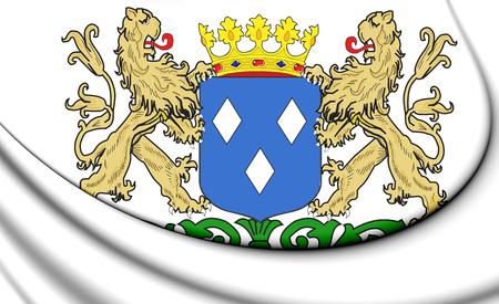 3D Almelo Coat of Arms, Netherlands. 3D Illustration.
