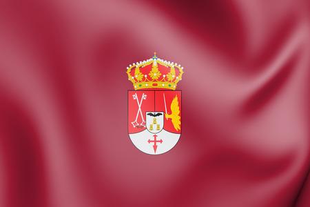 3D Flag of Albacete Province, Spain. 3D Illustration.