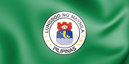 3D Flag of Manila, Philippines. 3D Illustration.