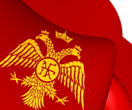 3D Flag of Palaiologos Dynasty. Byzantine Eagle. 3D Illustration Фото со стока