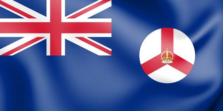 3D Flag of Singapore (1946-1959). 3D Illustration. Stock Photo