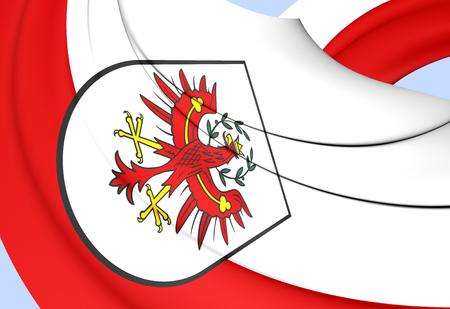 3D Flag of Tyrol, Austria. 3D Illustration.
