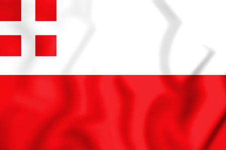 3D Flag of Utrecht Province, Netherlands. 3D Illustration.