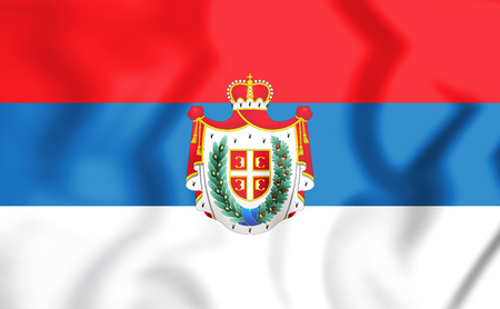 3D Flag of Vojvodina with the coat of arms. 3D Illustration.
