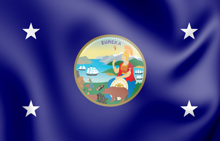 3D Standard of the Governor of California, USA. 3D Illustration. Stockfoto