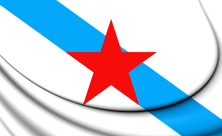 Socialist Nationalist Galician Flag. 3D Illustration.