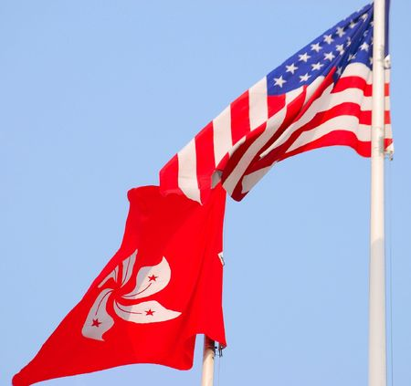Flags of the USA and Gong Kong Redactioneel
