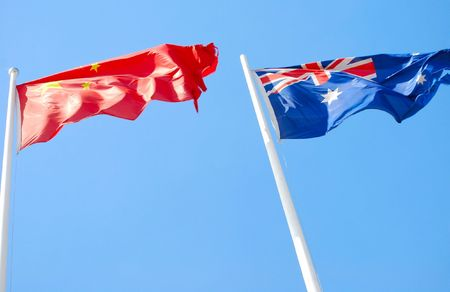 Flags of China and Australia Redactioneel