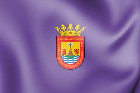3D Flag of San Cristobal de La Laguna (Santa Cruz de Tenerife), Spain. 3D Illustration. 版權商用圖片