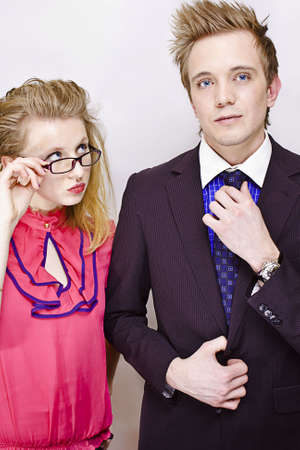 average guy: young man and woman together Stock Photo