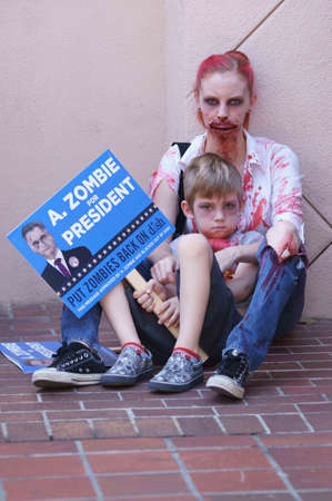 Downtown San Diego 08202012 Zombie Rally- Zombie Mother and Child