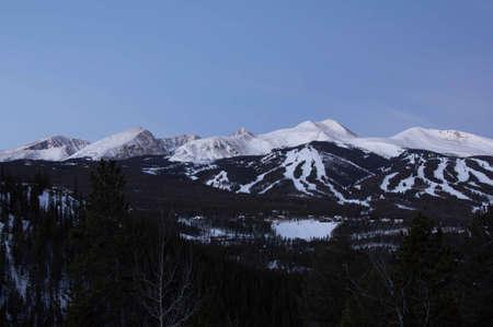 ski runs: Breckenridge, Colorado  01262013- Pre sunrise over Breckenridge Ski Resort Editorial