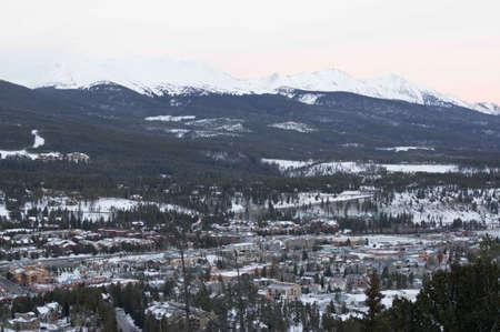 ski runs: Breckenridge, Colorado  01262013- Sunrise over Breckenridge Ski Area and Town Area