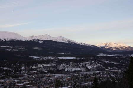 ski runs: Breckenridge, Colorado  01262013- Sunrise over Breckenridge Ski Area and Town