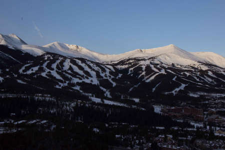 ski runs: Breckenridge, Colorado  01262013- Sunrise over Breckenridge Ski Area and Town