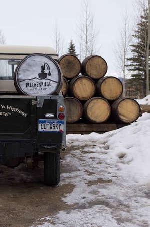 Breckenridge Distillery, 01262013 - Distillery Delivery Truck and Barrels Editorial