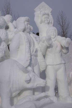 ice sculpture: Breckenridge, Colorado  01262013- Ice Sculpture Competition China Editorial