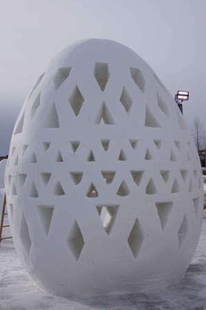 Breckenridge, Colorado  01/26/2013- Ice Sculpture Competition Egg Stock Photo - 17838076