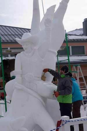 ice sculpture: Breckenridge, Colorado  01262013- Ice Sculpture Competition U.S.A. Editorial