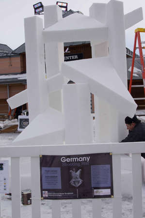 sculp: Breckenridge, Colorado  01262013- Ice Sculpture Competition  Germany Shooting Star