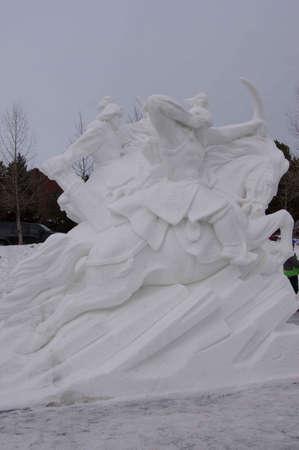 Breckenridge, Colorado 01/26/2013- Ice Sculpture Competition Mongolie - Mongolie Guerriers Banque d'images - 17838438