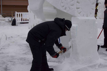 Breckenridge, Colorado 01/26/2013- Ice Sculpture Competition Mexique Banque d'images - 17838390