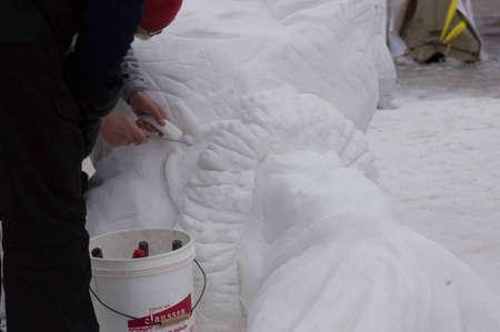 Breckenridge, Colorado 01/26/2013- Ice Sculpture concurrence du Canada Yukon Banque d'images - 17838399