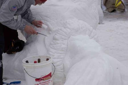 Breckenridge, Colorado  01/26/2013- Ice Sculpture Competition Canada Yukon Stock Photo - 17838410