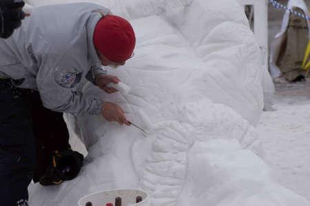 Breckenridge, Colorado  01/26/2013- Ice Sculpture Competition Canada Yukon Stock Photo - 17838411