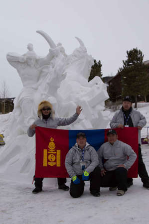 sculp: Breckenridge, Colorado  01262013- Ice Sculpture Competition Mongolia - Mongolian Warriors Editorial