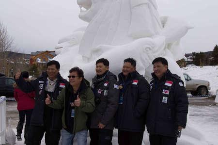 Breckenridge, Colorado 01/26/2013- Ice Sculpture Competition Singapour Banque d'images - 17838452