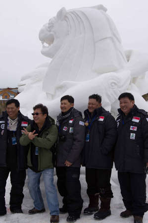 Breckenridge, Colorado  01/26/2013- Ice Sculpture Competition Singapore Stock Photo - 17838444