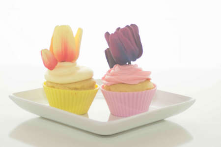 Easter Cupcakes With Tulips Stock Photo - 17743981