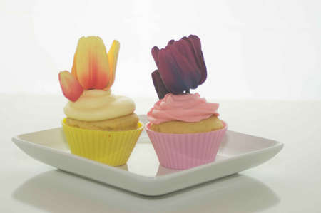 Easter Cupcakes With Tulips photo
