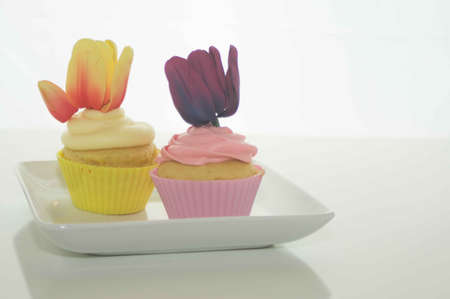 Easter Cupcakes With Tulips Stock Photo - 17743969