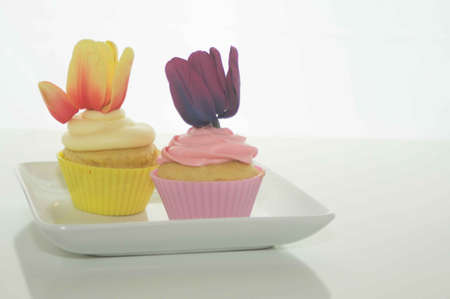 Easter Cupcakes With Tulips Stock Photo - 17743984