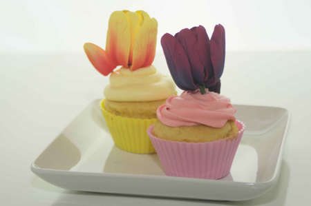 Easter Cupcakes With Tulips Stock Photo - 17743990
